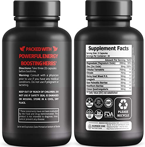N1N Premium Testosterone Booster for Men 9 Powerful Herbs Size, Stamina, Strength and Endurance Booster, Supports Healthy Weight Loss and Build Lean Muscle Mass, 90 Caps