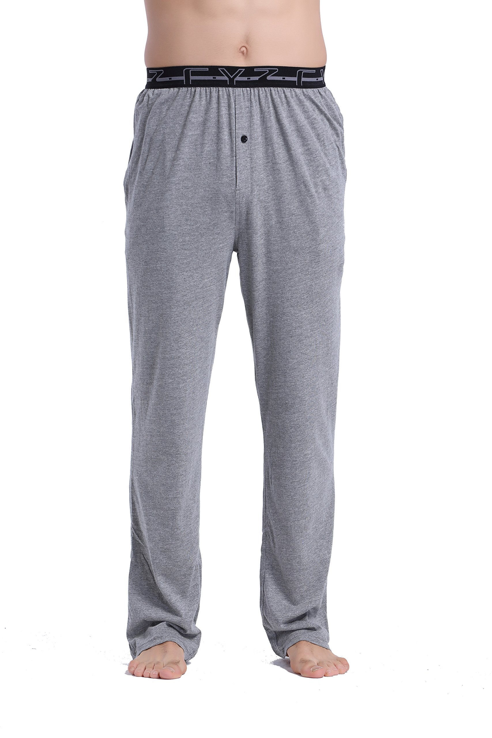 CYZ Men's 100% Cotton Jersey Knit Pajama Pants with Elastic Waistband-Darkgrey-L by CYZ Collection (Image #1)