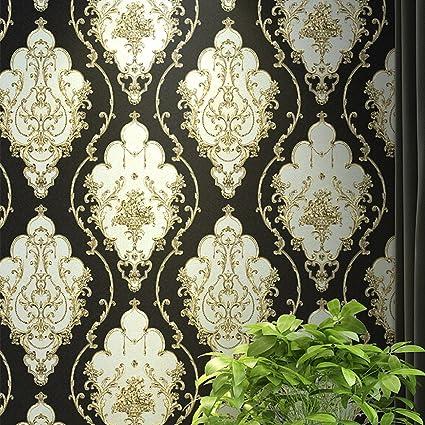 Blooming Wall Black Gold Damasks Wallpaper Mural For Bathroom Kitchen LivingroomLarge Size