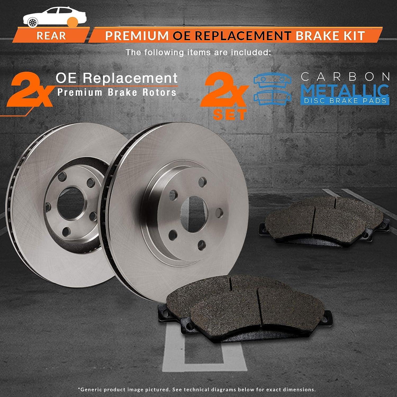 TA071142 Max Brakes Rear Premium Brake Kit Fits: 2013 13 2014 14 2015 15 Jeep Wrangler OE Series Rotors + Metallic Pads