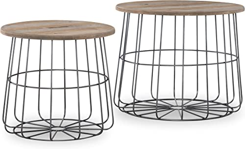 Linon Home Decor Products Deena Metal and Wood Basket Nesting Table, Brown