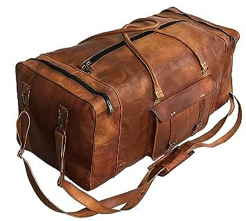 Amazon.com: Bolso de viaje de piel para equipaje, tamaño ...