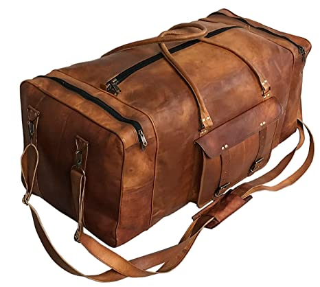 d3922ad8d89d Large Leather 32 Inch Luggage Duffel Weekender Travel Overnight Carry One  Duffel Bag For Men