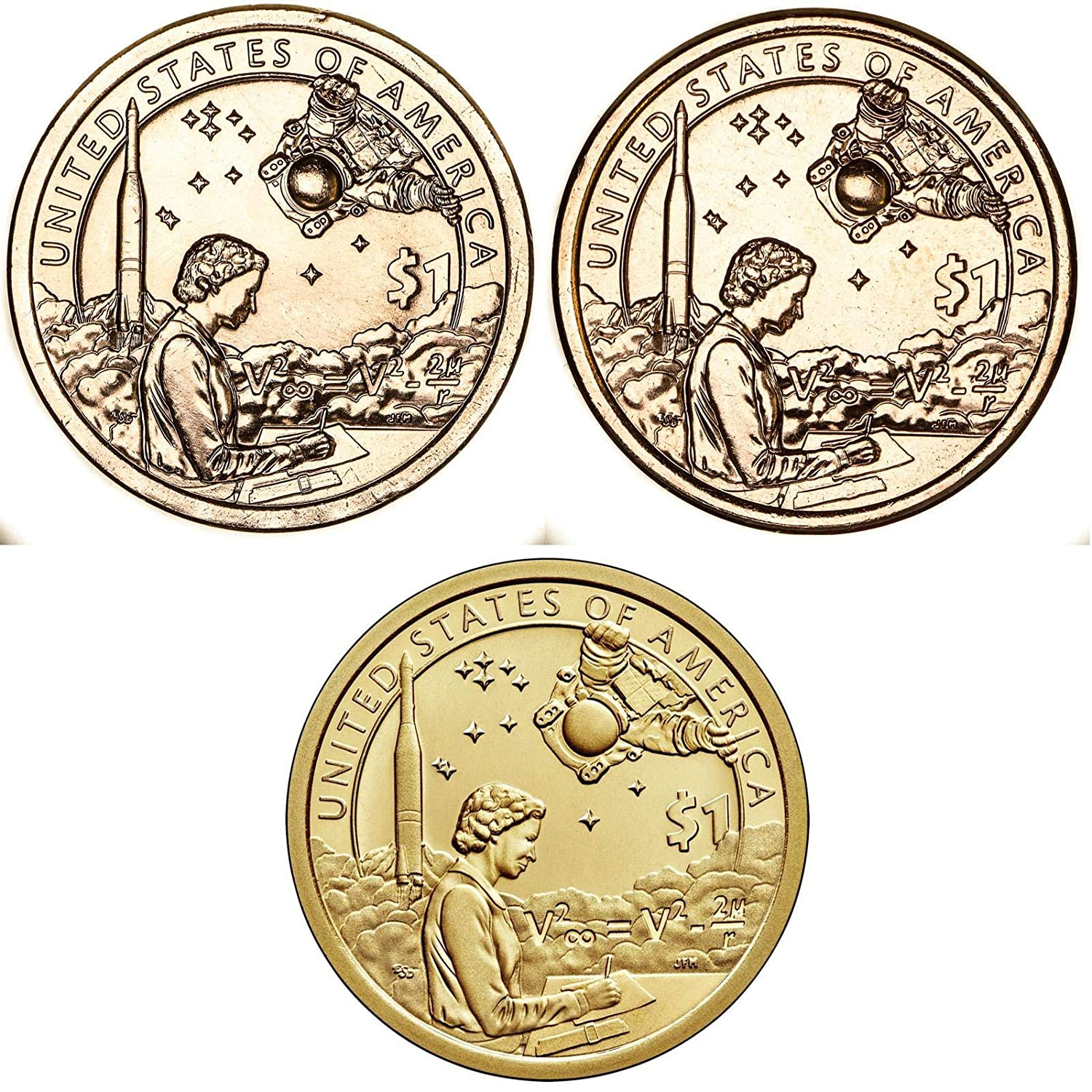Three Coins 2000 P D and S BU and Gem Proof Sacagawea Native American Dollars