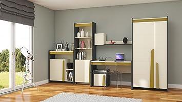Furniture24 Eu Wohnwand Teen Kleiderschrank Schreibtisch Regal