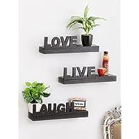 Artesia Floating Wall Shelf with 3 Shelves (Black)