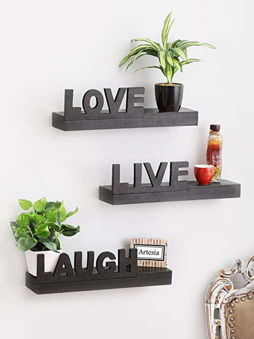 c3012c7ad57 Artesia Wooden Brown Floating Wall Rack Shelves Live Love Laugh (Set Of 3)   Amazon.in  Home   Kitchen