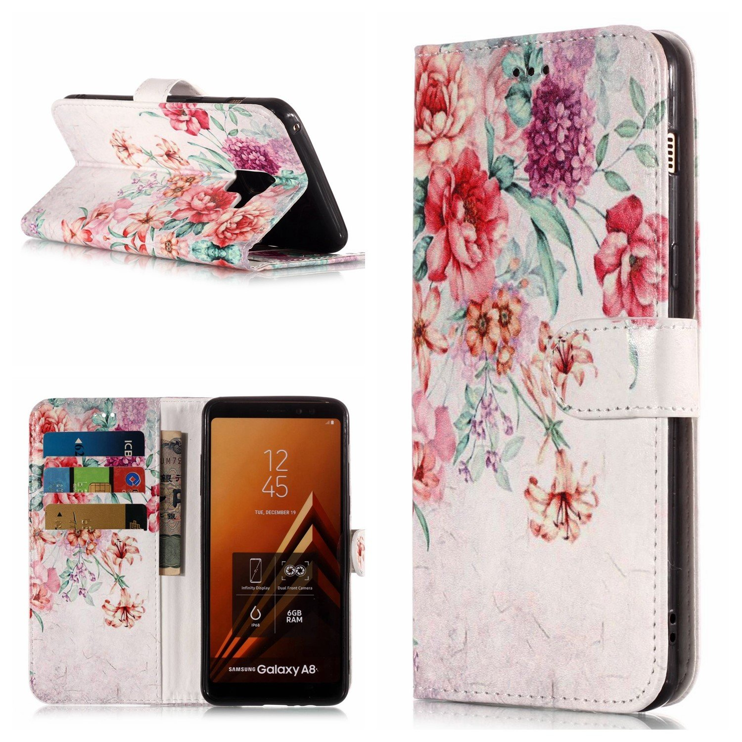 Flip Case for Galaxy A8 2018, Wallet Cover for Galaxy A8 2018, Leeook Pretty Elegante Creative Strap Blue Mandala Flower Design Bookstyle Wrist Strap Magnetic Card Slots Pu Leather Soft Inner Stand Function Protective Folding Wallet Case Cover for Samsung