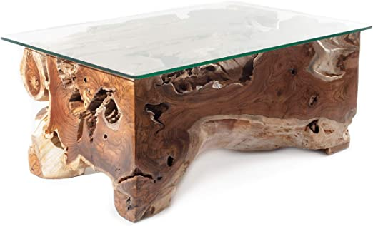 Windalf Lucia - Mesa de centro hecha a mano, 100 cm, mesa de jardín, mesa de salón, mesa de raíces, hecha a mano en madera de raíz: Amazon.es: Juguetes y juegos