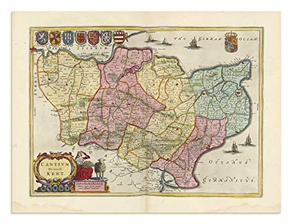 Chatham England Map.The Blaeu Prints East Sussex Kent England Historical Map Print