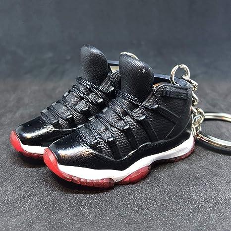 64b809da9577 Amazon.com  Pair Air Jordan XI 11 Retro Bred Black Red OG Sneakers Shoes 3D  Keychain 1 6 Figure  Everything Else