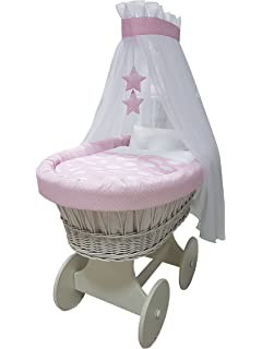 NEW OPHELIA STAR HEART WHEELS ANTIQUE CREAM Stubenwagen Wicker Crib von ALANEL
