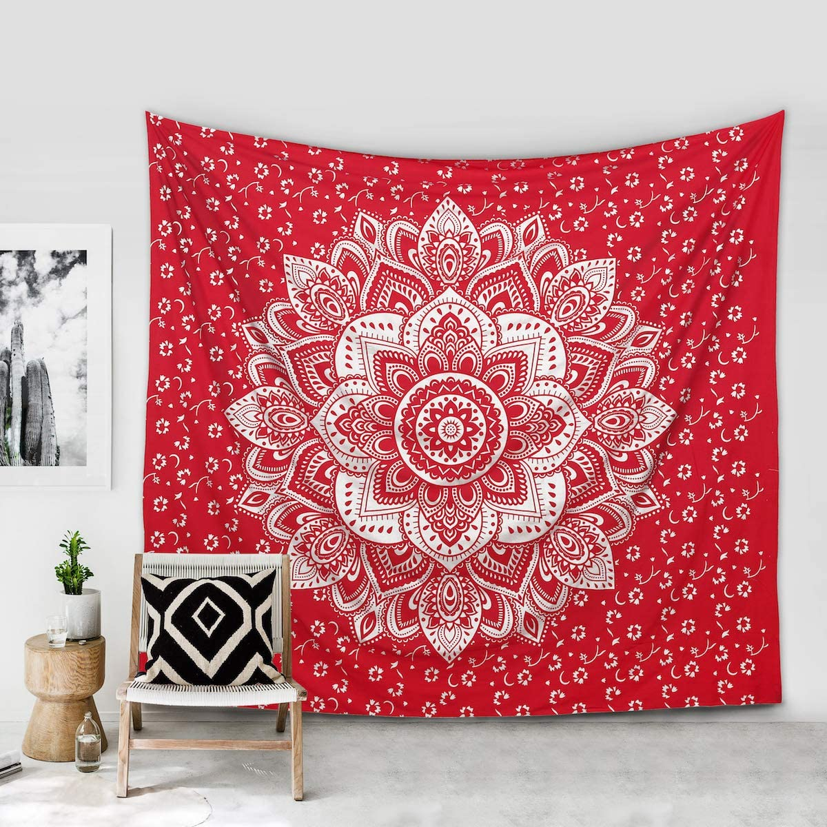 Madhu International Psychedelic Tapestry Wall Hanging - Mandala Tapestry - Bohemian Wall Decor - Hippie Cotton Tapestries Ombre Gypsy Tapestry for All Rooms - King Size - 90x108 Inches, Red Silver
