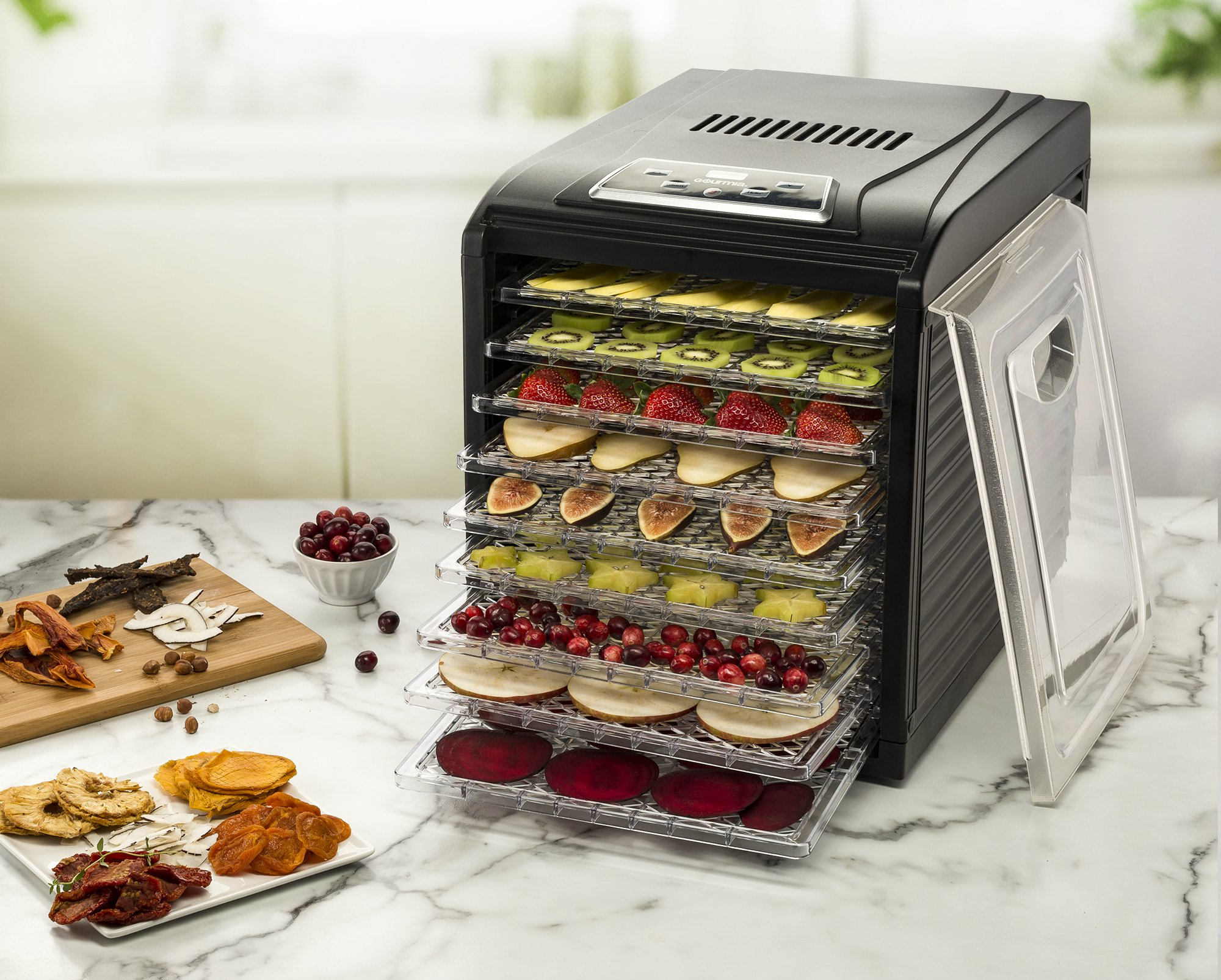 Gourmia GFD1950 Digital Food Dehydrator - 9 Drying Trays Plus Fruit Leather Tray - Digital Temperature Control - Transparent Window - Free recipe Book Included by Gourmia (Image #2)