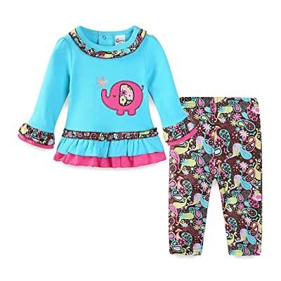 ecd71c1f Mud Kingdom Baby Girls Outfits Pink Shirts and Pants Sets Cute Chick