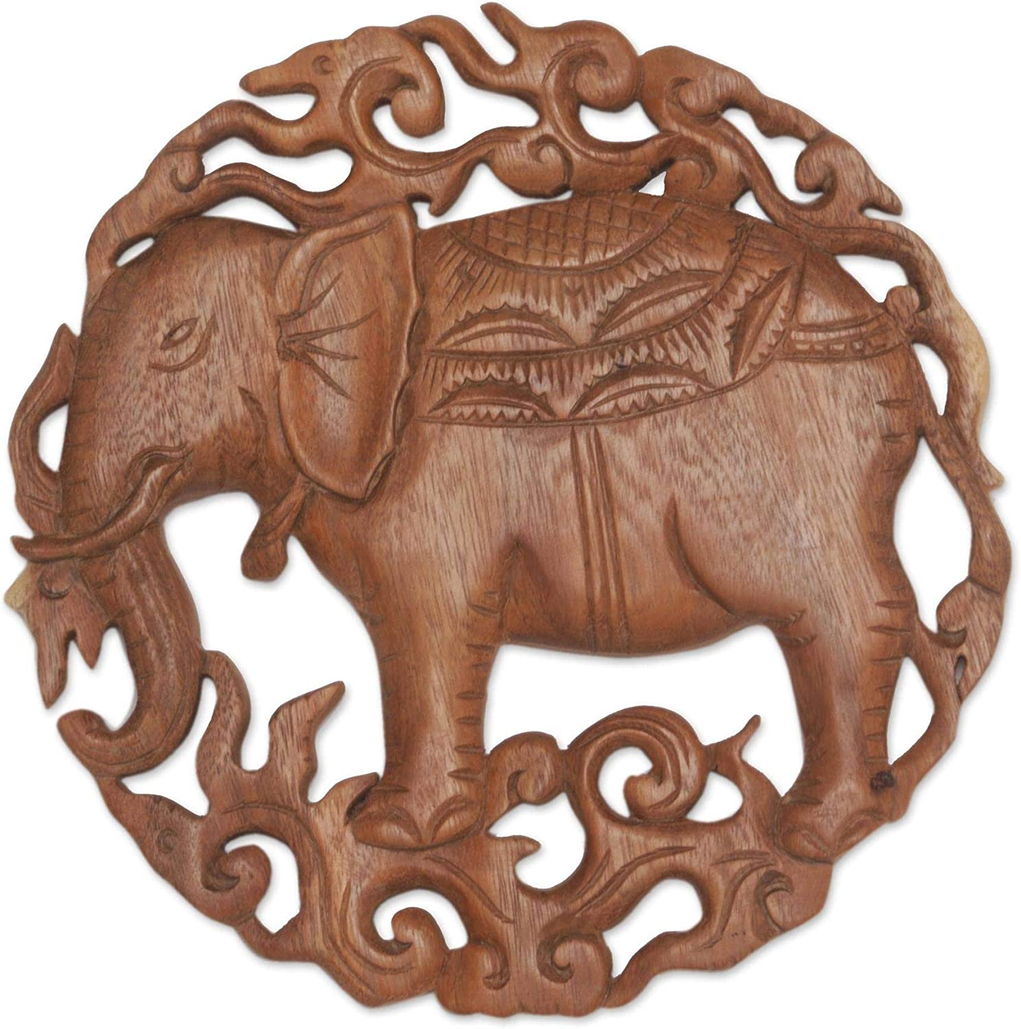 NOVICA Handcrafted Wood Elephant Wall Sculpture, Brown 'Palace Elephant'