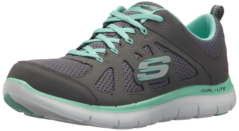 Skechers Women's Flex Appeal Simplistic Sneaker B01N7UKDFF 7 B(M) US|Charcoal Green
