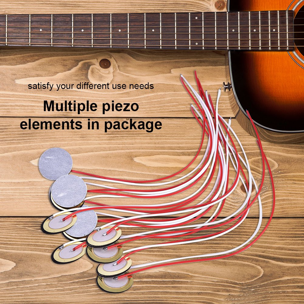 6 10 18 Pcs Piezo Discs With Wires 27mm Disc Guitar Wiring Electric Diagrams Pickup Element Sensor Wire For Drum Trigger 12pcs Sports Outdoors