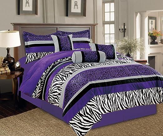5 Piece Bright Purple Black White Zebra Leopard Micro Fur Comforter set  Twin Size Bedding - Teen, Girl, youth, Tween, Children\'s Room, Master  Bedroom, ...