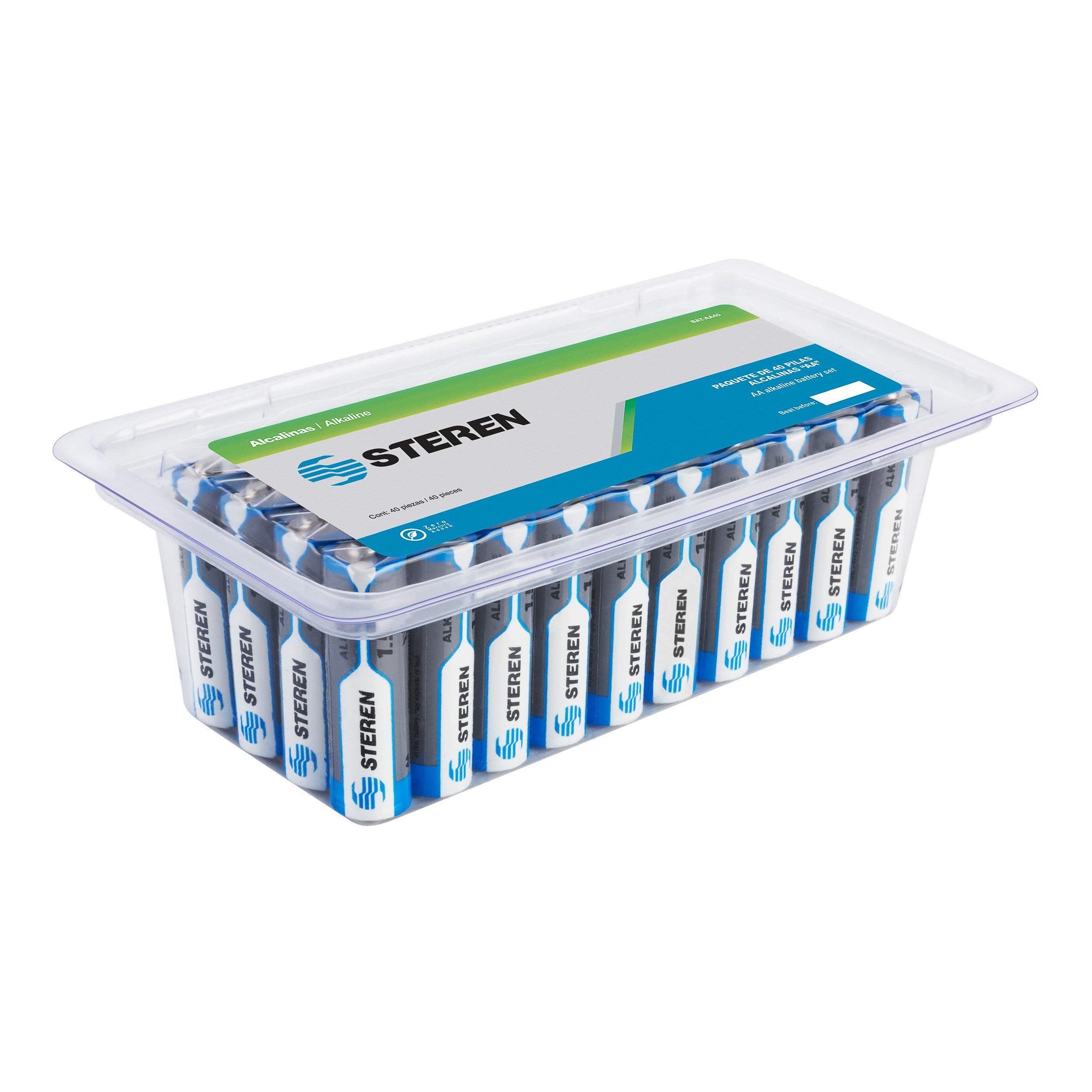STEREN AA Alkaline Batteries (Pack of 40) by STEREN