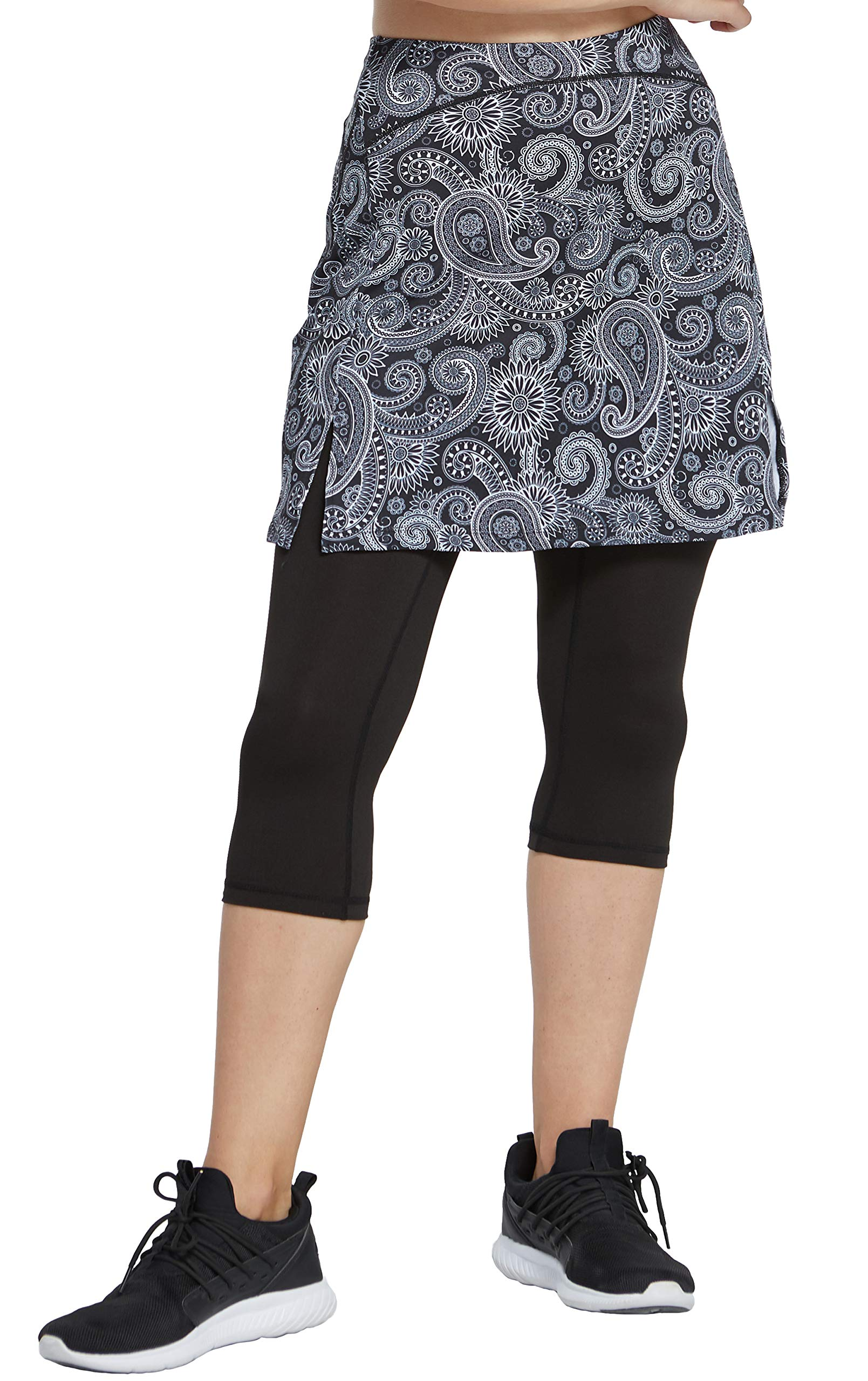slimour Women Golf Skirt with Leggings Capri Skirt Leggings with Pockets Skirted Leggings Paisley XL by slimour
