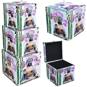 Promobo Set Lot 3 Boite Coffre Box Déco Zen Rangement