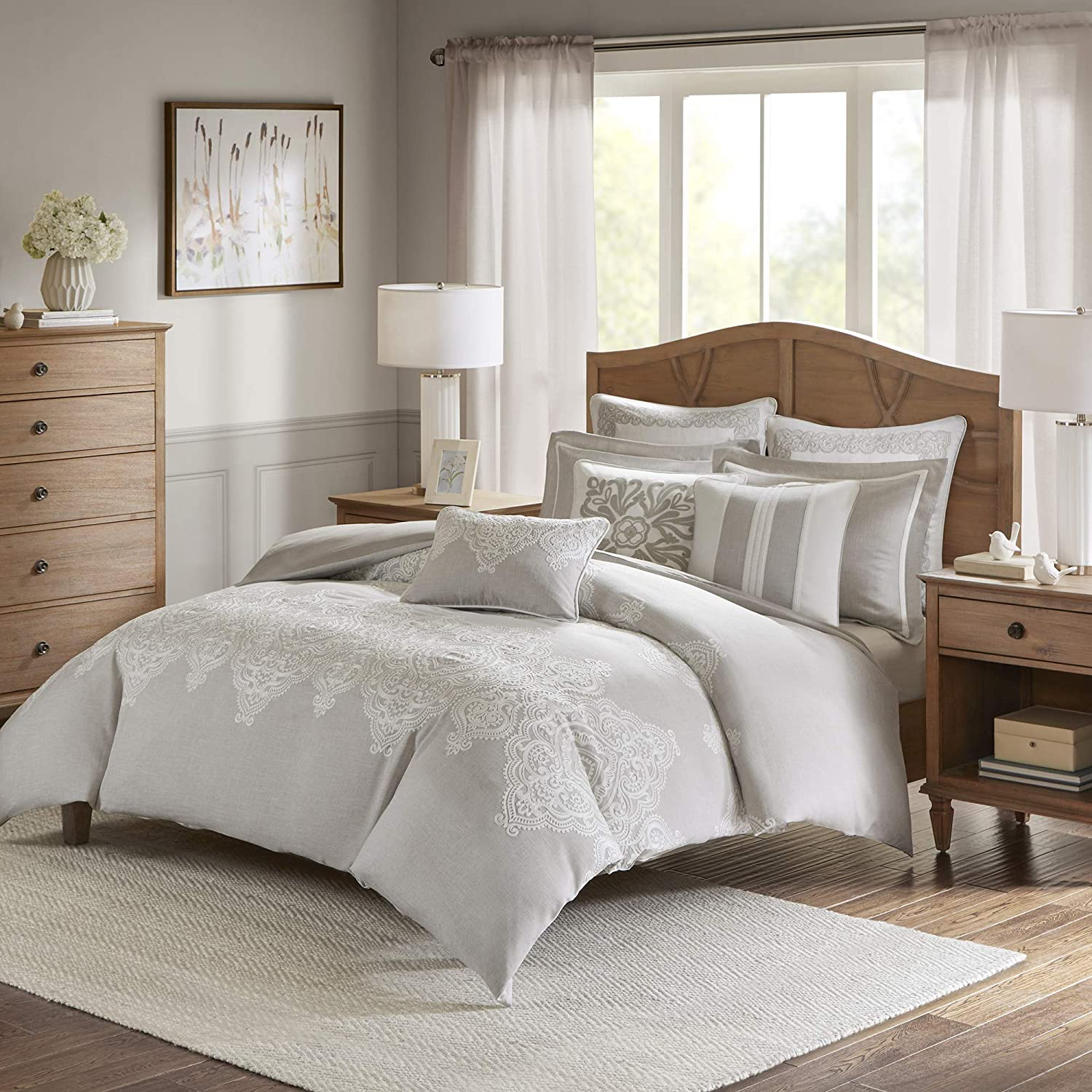 MADISON PARK SIGNATURE Barely There 9 Piece Comforter Set for Bedroom Damask Pattern Embroidery, King, Natural