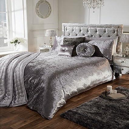 8f3703c537c0f Luxury Crushed Velvet Duvet Quilt Cover Bedroom Bedding Set (Silver Grey,  King): Amazon.co.uk: Kitchen & Home