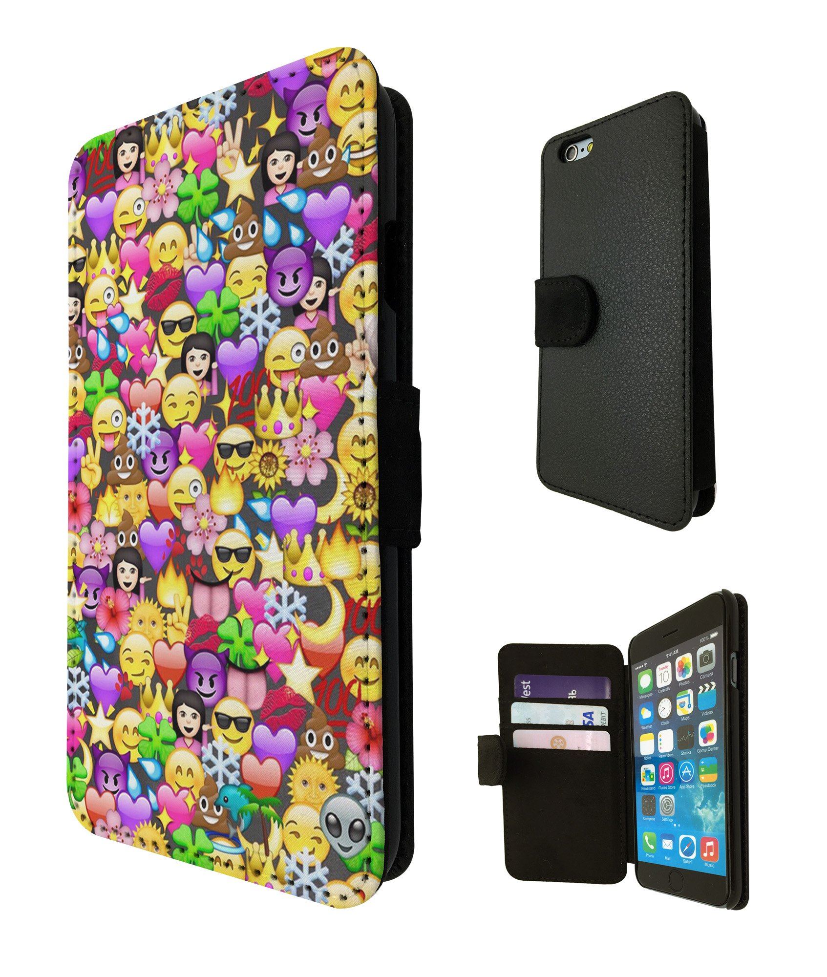 Amazon Com 2070 Cool Fun Funny Emoji Wallpaper Crown Princess Poop Devil Smiley Love Heart Design Iphone 6 Plus Iphone 6 S Plus 5 5 Flip Case Case Flip Credit Card Purse