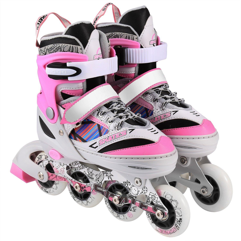 loukou Unisex Children Kids Rollerblade Indoor Outdoor Adjustable Inline Skates Size 12J-8, Kids Girls Boys Roller Blades with Flash Wheel (White pink, M(2-5))
