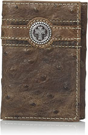 Ariat Western Mens Wallet Trifold Leather Ostrich Print Cross Concho A3517602