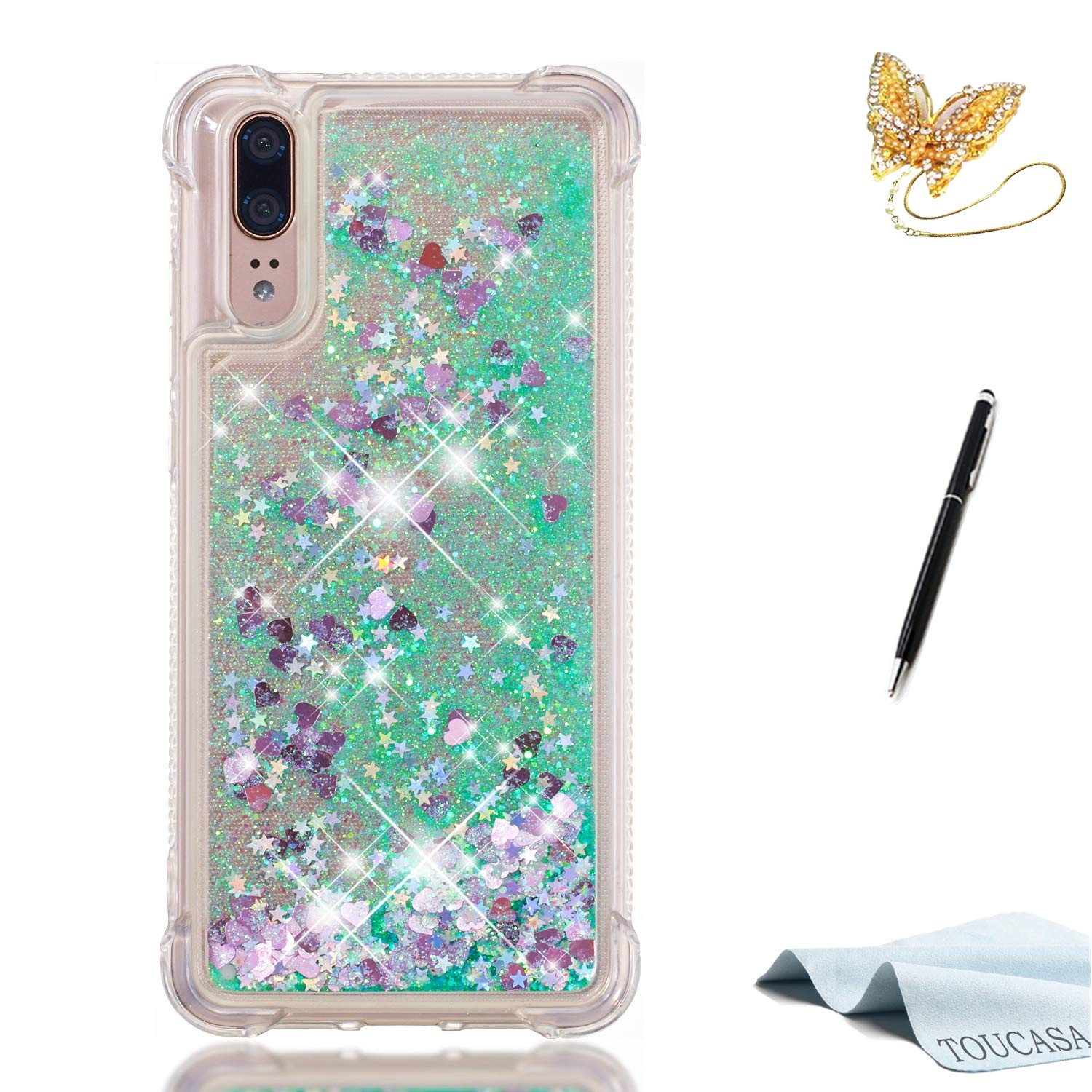 Coque Huawei P20 Lite, Housse Huawei P20 Lite, TOUCASA Anti Choc Silicone Coque, Bling Mince Souple Premium Hybrid Crystal Clear Flex Soft Gel Cover Skin Extra Slim Cristal Clair Gel TPU Neuf Style Brillant Bling Glitter Sparkle [LOVE] Etoiles liquides flo