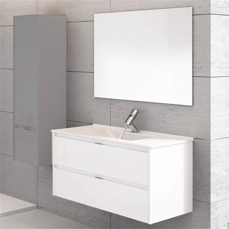 THERMIKET Mueble de Baño con Lavabo de Porcelana Suspendido - 2 cajones - Mueble va MONTADO - Modelo Ibiza (Blanco, 60cm)