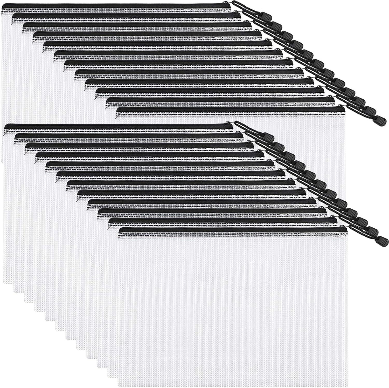 EOOUT 24pcs Mesh Zipper Pouch Document Bag, Plastic Zip File Folders, Letter Size/A4 Size, Black, for School Office Supplies