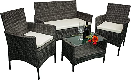 AVANTI TRENDSTORE Andria Set di mobili da Giardino in ecorattan, 2 poltrone Singole, 1 Poltrona a 2 posti e 1 Tavolo