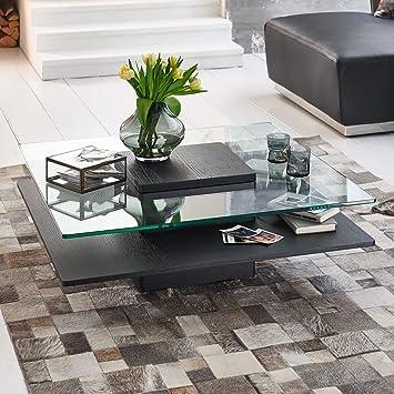 Table Basse Noir En Bois Veritable Placage Carre Porto Table En