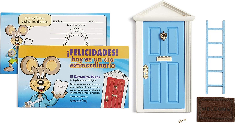 🐭 Ratoncito Pérez: Puerta Mágica Azul + Escalera + Felpudo + Llave + Postal de Felicitación + dibujo para anotar y pintar las fechas de los dientes caídos: Amazon.es: Juguetes y juegos
