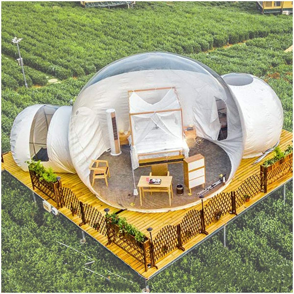 LFDHSF Family Camping Backyard Tent, Garden Igloo 360 Dome, Dual Tunnel Outdoor Luxurious Transparent Inflatable Bubble Tent