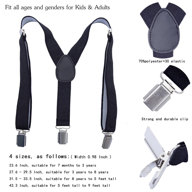 8 Years - 5 Feet Tall Dark Grey, 31.5-33.5 Inch Adjustable Y Shape Elastic Leather Braces Suspenders Toddler Kids Boys Baby Suspenders