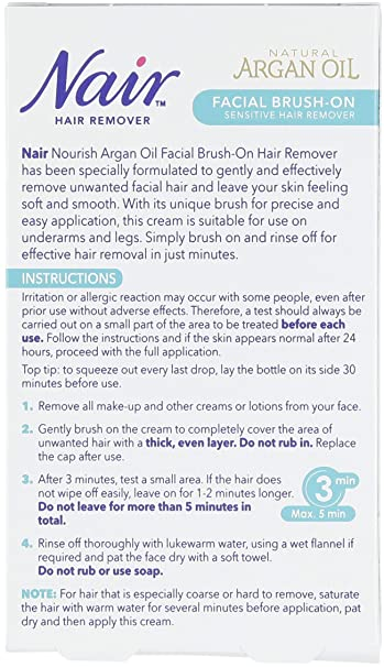 Nair Brush-sensible en el removedor del pelo, facial 50ml: Amazon.es: Salud y cuidado personal