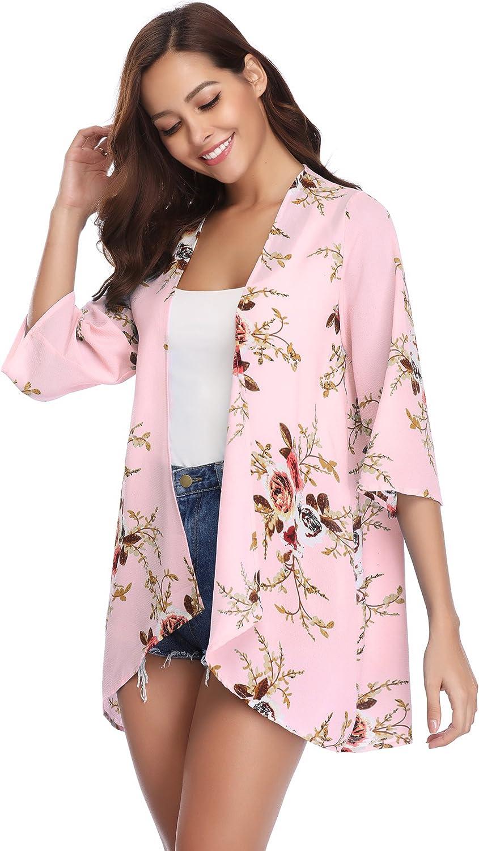 Weste Kimono Pareo Abollria Damen-Jacke Bohemian Cardigan Bedruckt Strand 3//4 /Ärmel aus Chiffon Casual Blumen leicht Poncho Fluide