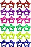 iLoveCos Moda 80 DE Punta Plana de Juguete Forma de Estrella Gafas de Sol Disfraz Gafas de Persiana para Fiesta Disfraces 6 Colores, 12 Pares (Estrella)