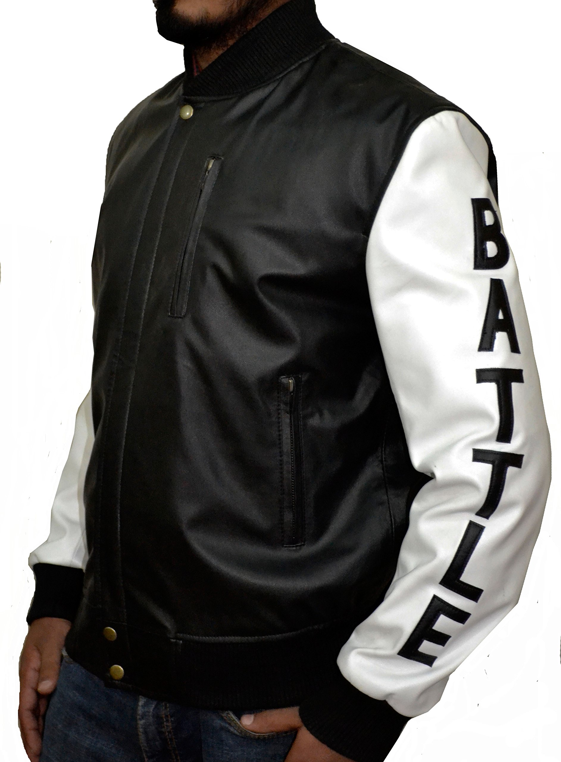 KOBE Destroyer XXIV Battle Micheal B Jordan Synthetic (Faux) Leather Jacket Black and White,XS