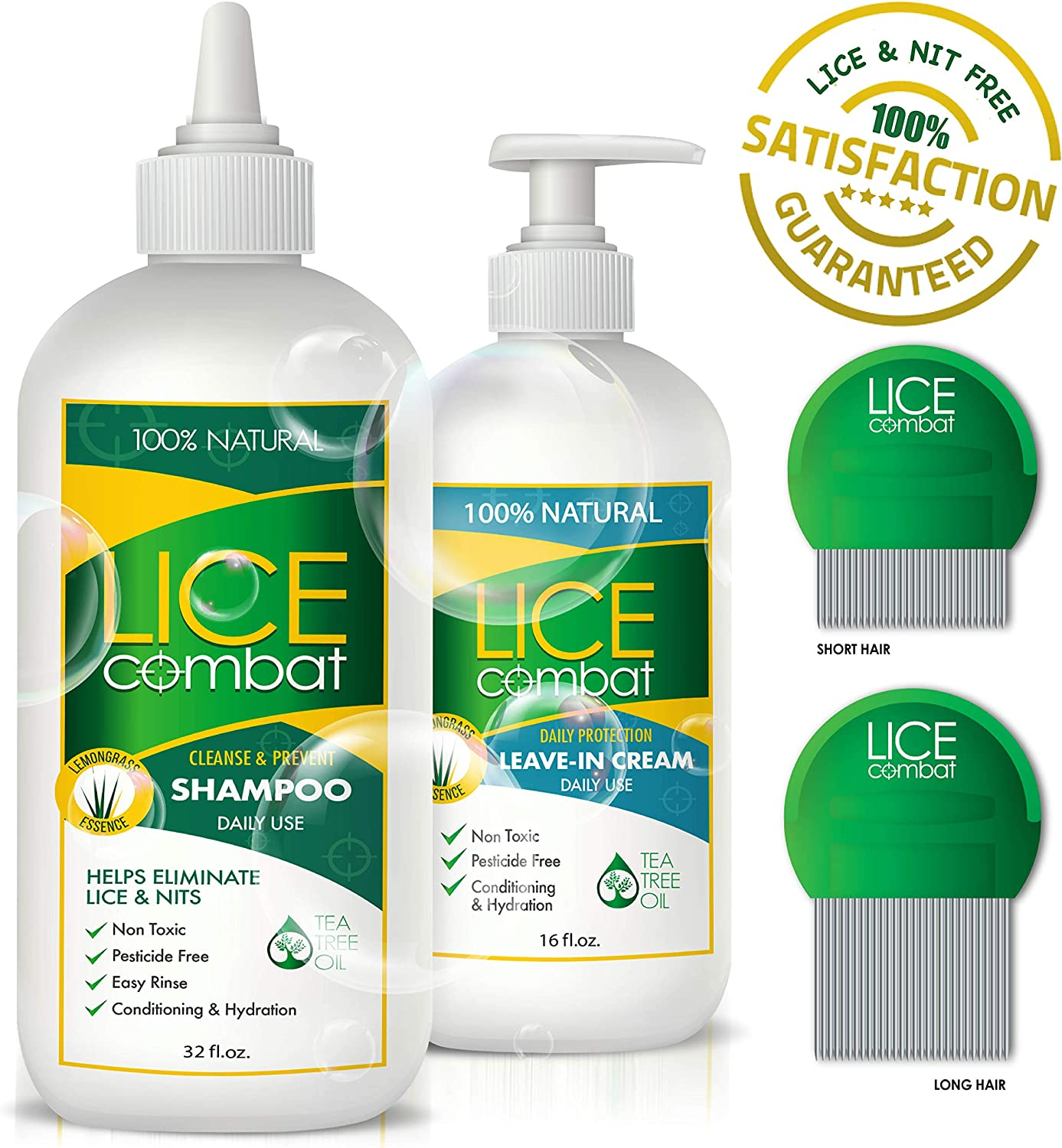 Lice Treatment Kit | Shampoo, Leave-in Cream & Two Combs | Kills Lice, Super Lice & Nits | Repels & Prevents | Pesticide Free | 100% Natural | Tea Tree + Coconut Oil | Best Value oz | by LICE Combat