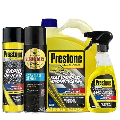 Prestone Líquido limpiaparabrisas 4L + 1 x disparador 1 x puede – Anticongelante + 1-