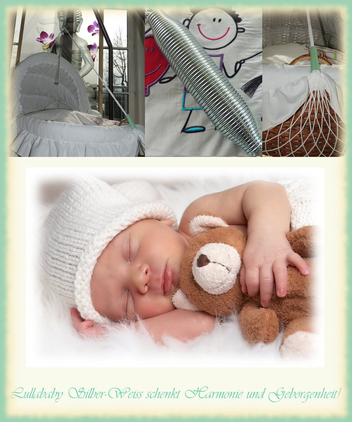 Neue Lullababy® Sicherheit durch Tempern Lullababy-Federwiege mit neuer getemperter Sanftschwingfeder und weißem Netz - bis 25 Kg product image