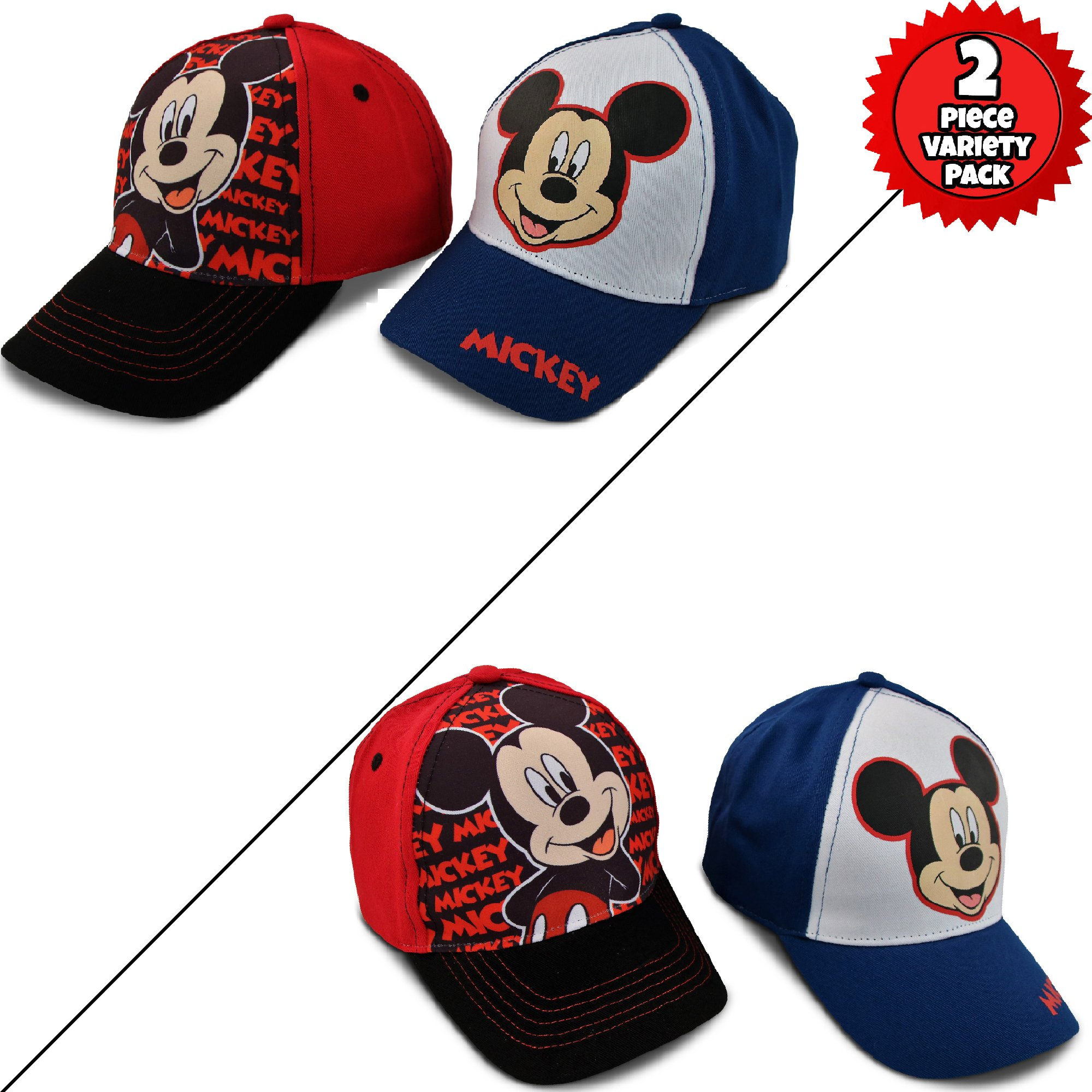 Disney Little Boys Assorted Character Cotton Baseball Cap, 2 Piece Design Set, Age 2-7 (Toddler Boys – Age 2-4 – 51 cm, Mickey Mouse Design – 2 Piece Set) by Disney (Image #6)