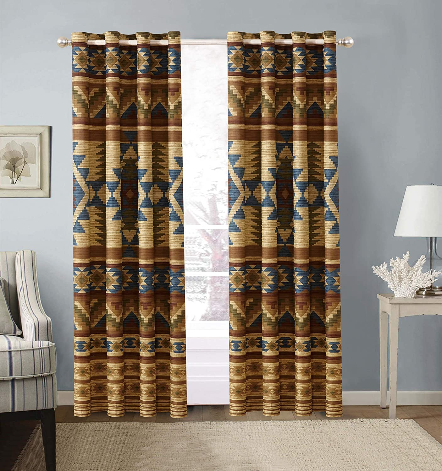 "Rustic Western Southwestern Native American 2 Piece Window Curtains Set with Grommets in Beige Taupe Brown Blue and Green Color Scheme (2 Panels - 54""x84"" Each) Austin Taupe 2pc Curtains"