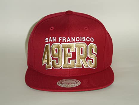 cd395f6c Image Unavailable. Image not available for. Color: Mitchell and Ness NFL San  Fransisco 49ers Arch Red Gold Snapback Cap