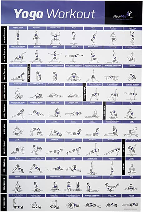 NewMe Fitness YOGA POSE EXERCISE POSTER LAMINATED Premium Instructional Beginners Chart For Sequences Flow